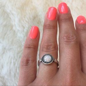 White Stone Round Ring